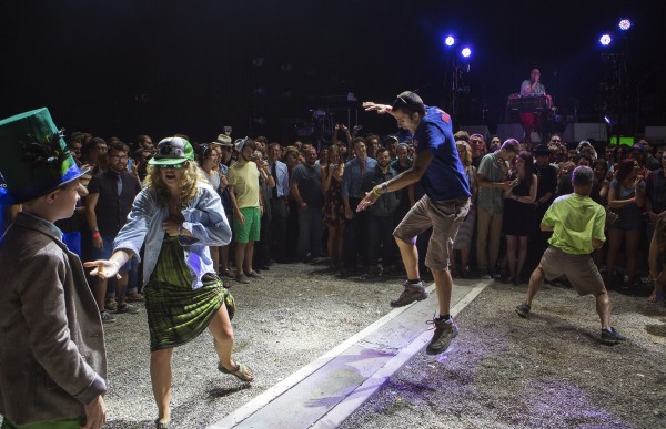 Concertgoers have a dance-off during Dan Deacon's set before the Arcade Fire show Wednesday at the Darling's Waterfront Pavilion in Bangor.