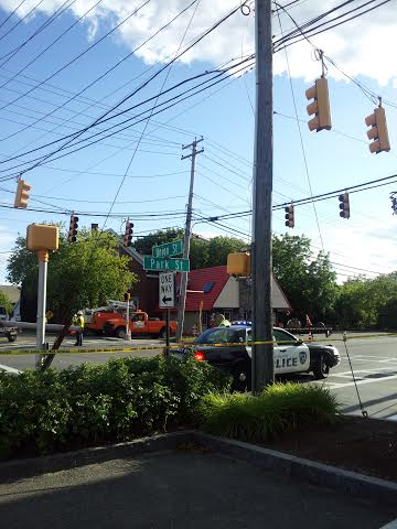The busy intersection of Park and Union streets was closed Thursday afternoon after a utility pole snapped.