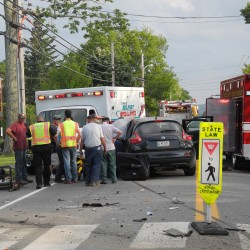 Route 1 collision sends 3 to hospital