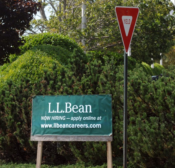 A sign left-over from better times at the L.L. Bean call center in Bangor.  The company announced that it will close the call center in the spring of 2016.