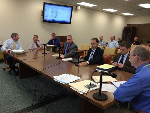 Board of Corrections Executive Director Ryan Thornell (second from right) and Sagadahoc County Sheriff Joel Merry (third from right) met with Penobscot County commissioners on Tuesday.