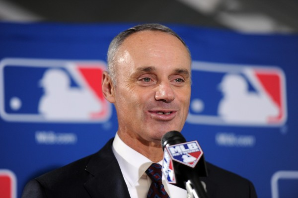 Newly elected commissioner of baseball Rob Manfred speaks at a press conference Thursday in Baltimore after being elected by team owners to be the next commissioner of Major League Baseball.