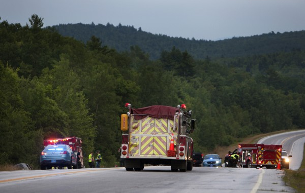 Emergency officials were at the scene of a two-car accident on Tuesday on Route 1A in Dedham.