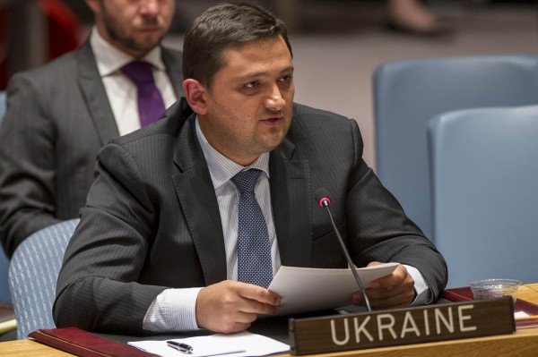 Ukrainian Deputy Representative to the United Nations, Oleksandr Pavlichenko, speaks during a meeting of the U.N. Security Council at U.N. Headquarters in New York Aug. 28, 2014