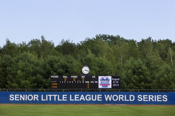 The new scoreboard is seen at Mansfield Stadium in Bangor Tuesday.