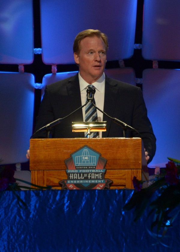 Roger Goodell speaks at the 2014 Pro-Football Hall of Fame Enshrinees gold jacket dinner at Canton Memorial Civic Center.
