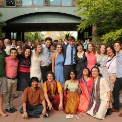 "Members of the College of the Atlantic class of 2014 celebrate outside Kaelber Hall on the Bar Harbor campus in June. Princeton Review recently named the school ""one of the best institutions in the country for undergraduate education."""