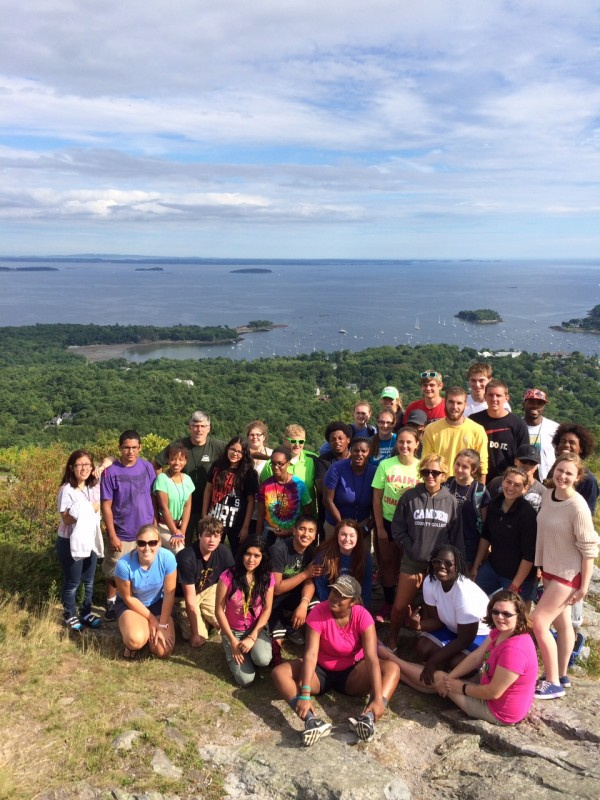 Maine Trekkers and Urban Trekkers students at summit of Mount Battie in Camden