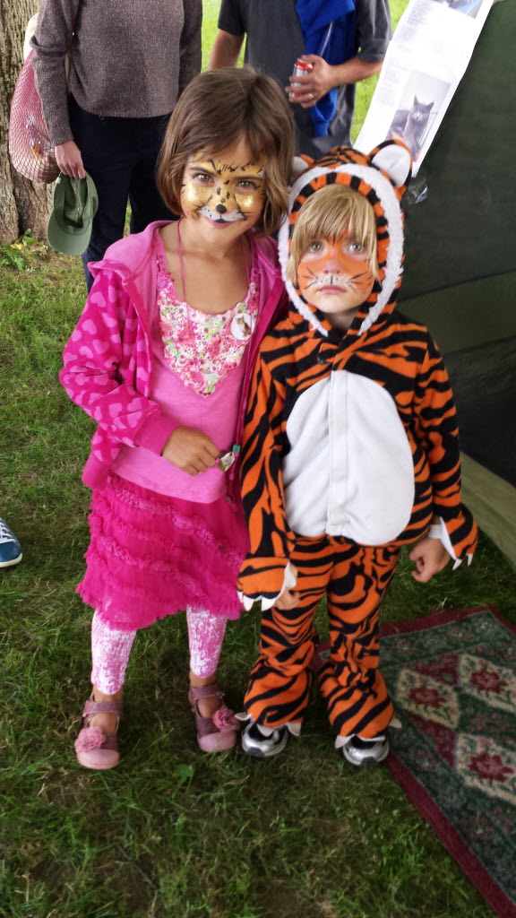 Alice Lee (left), 6, and her brother, Toren Lee, 4, dressed up Saturday to attend the Internet Cat Video Film Festival at Harbor Park in Rockland.