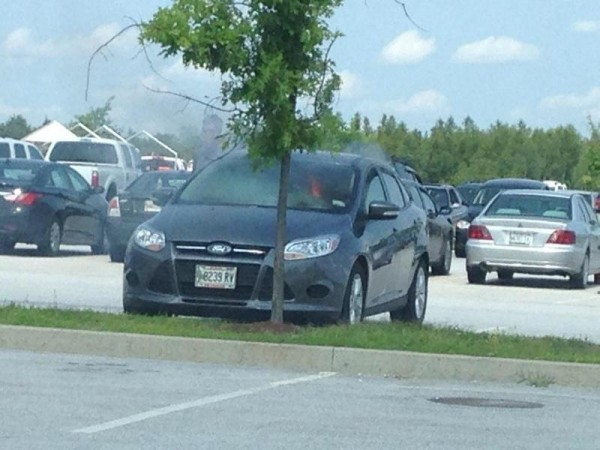 Firefighters responded to a car on fire in the parking lot of Home Depot in Bangor on Monday.