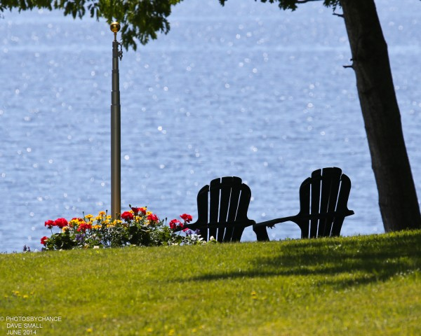 Chairs on the shore.