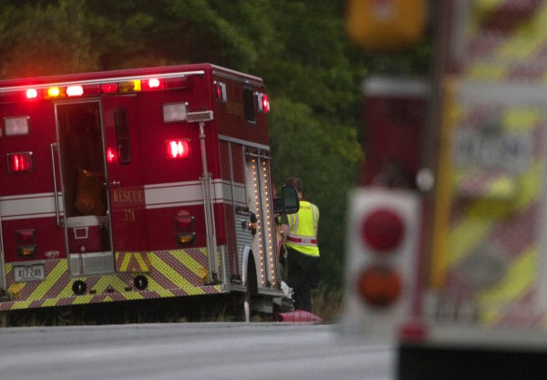 An ambulance at the scene of a two-car accident on Tuesday on Route 1A in Dedham.