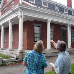 Mike Pullen describes details of the Thomas A. Hill House to participants in the Bangor Historical Society's historic architecture tour.