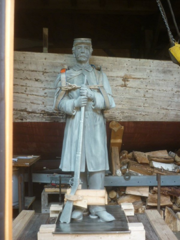 The statue of a Civil War soldier that was damaged by weather and culprits over the last century on display in downtown Orono, has a new musket and bayonet, as well as other repairs, in preparation for a rededication planned for the Fourth of July 2015, the 150th anniversary of the end of the Civil War.