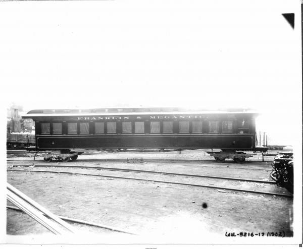 Franklin & Megantic First Class Coach No. 2 pictured here in 1903 at the Jackson & Sharp Co. in Wilmington, Delaware before being put into service in Maine.