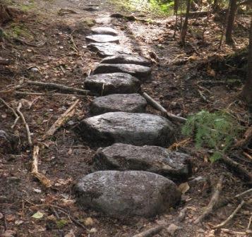 Step stones installed near Rainbow Lake
