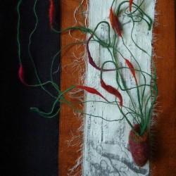 "Specimen 140703, felt, handspun yarn, stainless steel, linen, silk, 8"" x 10"""