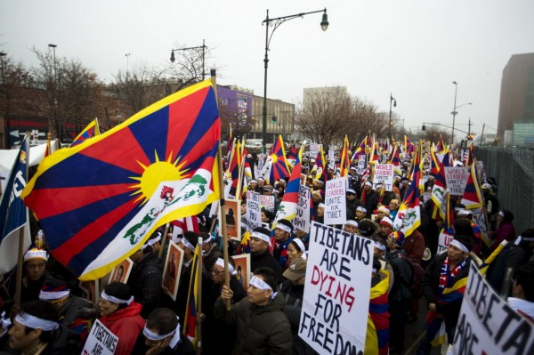 Protesters take part in a solidarity march from the Chinese Consulate to the United Nations Headquarters in support of Tibet in New York, December 10, 2012. The march also aims to brings to attention a string of self-immolations that have taken place in Tibet in protest of China's handling of the region.