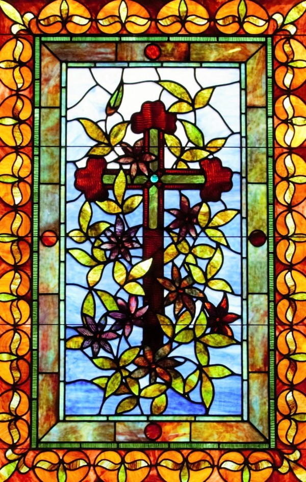 A portion of one of the beautiful stain glass windows at the Searsport First Congregational Church.