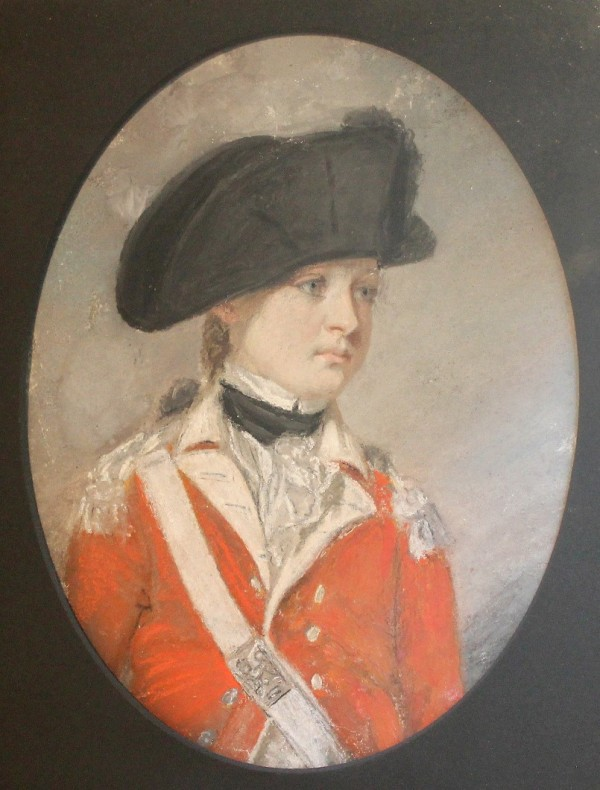 Pastel portrait of General Gosselin as a boy of approximately 14 serving in the British marines long before he arrived in Castine on September 1, 1814.  (Loaned to CHS for exhibit by Ken Martin)