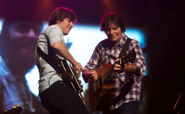 John Fogerty (right) jams out with his son, Shane Fogerty, during his show Saturday at Cross Insurance Center in Bangor.
