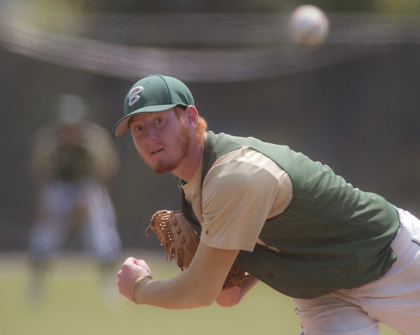 Bessey Motors pitcher Riley Chickering throws to the plate in the fifth inning of their American Legion Championship game at Husson University in Bangor, Maine, Sunday, Aug. 3, 2014.