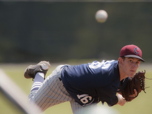 Comrades pitcher Justin Courtney delivers a pitch to the plate in the fourth inning of their American Legion Championship game against Bessey Motors at Husson University Sunday, Aug. 3, 2014.