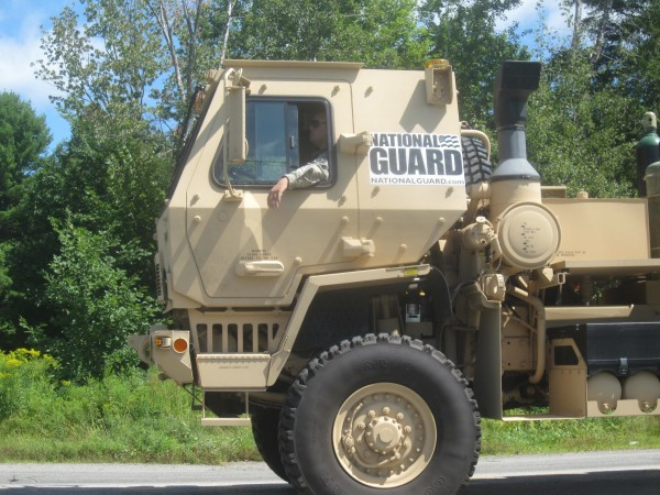 A couple of National Guard vehicles participated.