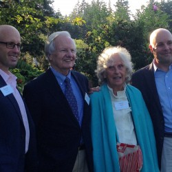 From left, College of the Atlantic President Darron Collins, journalist Bill Moyers, philanthropist Polly Guth and Island Institute President Robert Snyder, at Thursday's kickoff of the Fund for Maine Islands, which drew more than 200 people at a private gathering in Seal Cove.