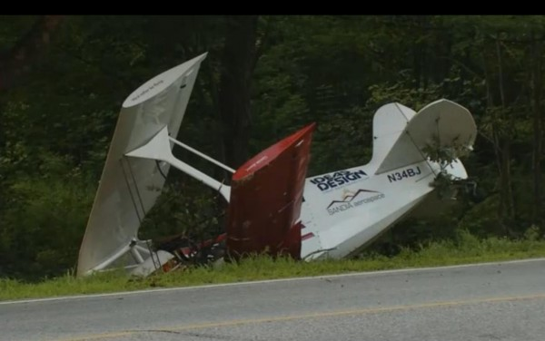 A stunt pilot's plane crashed on Route 35 in Standish on Sunday.