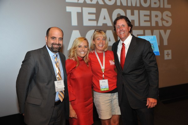 Vice President of Math Solutions Patricio Dujan, Amy Mickelson, Weatherbee teacher Susan O'Brien, and pro golfer Phil Mickelson pose for a photo at the 2014 Mickelson ExxonMobil Teachers Academy.