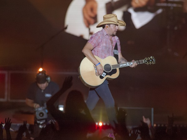 Jason Aldean performs at the Darlings Concert Pavillion on the waterfront in Bangor on Sunday.