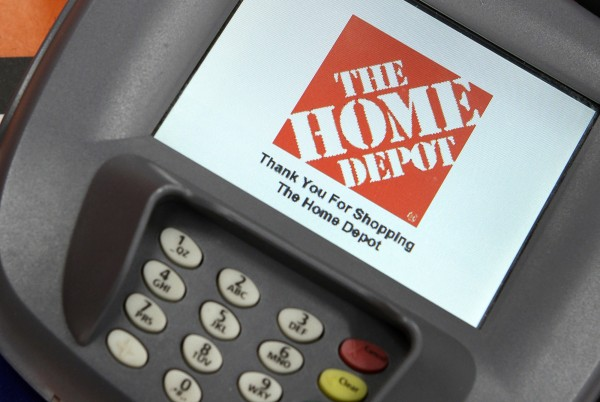 A closeup of an electronic payment station is shown at a Home Depot store in Daly City, California, in this February 21, 2012 file photo.