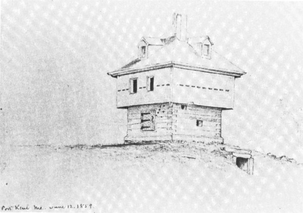 An 1859 drawing of the Fort Kent Blockhouse shows the underground entrance that may have given rise to the persistent rumors of tunnels leading to and from the building.