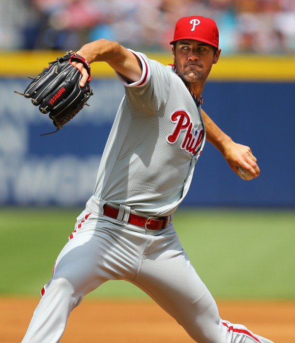 Philadelphia Phillies' Cole Hamels delivers a pitch against the Atlanta Braves during the first inning on Monday at Turner Field in Atlanta.