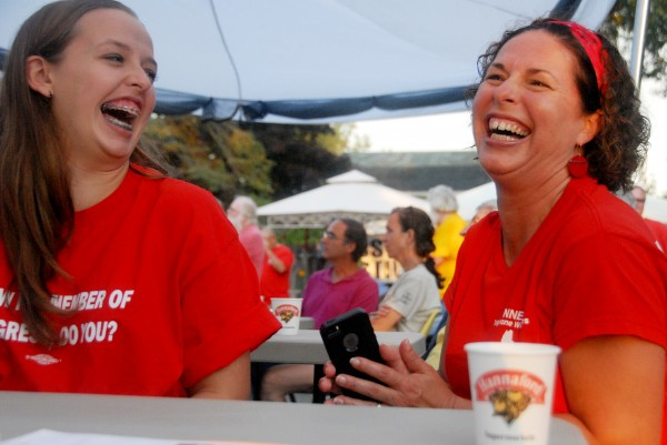 Michelle Dunphy, a member of Communications Workers of America Local 1400, laughs with her daughter, Emily Dunlap, at a union campaign stop for Democratic candidates in Brewer on Monday, Sept. 1, 2014.