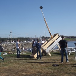 Trebuchet, coffin races draw Halloween enthusiasts to Bucksport