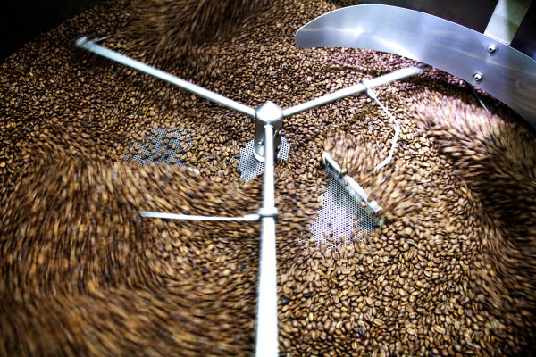Blades rake fresh-roasted coffee beans as they come out of a one-bag, Loring roasting machine at Wicked Joe in Topsham.