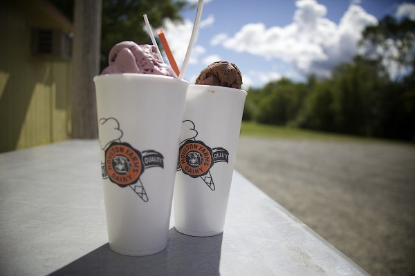 Milkshakes sit in the sun at Houlton Farms Dairy Bar.