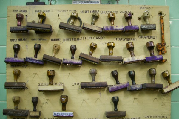 Stamps hang on a board at Houlton Farms Dairy. The stamps are used to mark the many gallons of ice cream the dairy production company produces every day.