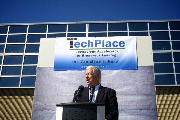 U.S. Rep. Mike Michaud speaks Thursday as redevelopment officials celebrated the unveiling of TechPlace, a manufacturing incubator on the former Navy base in Brunswick.