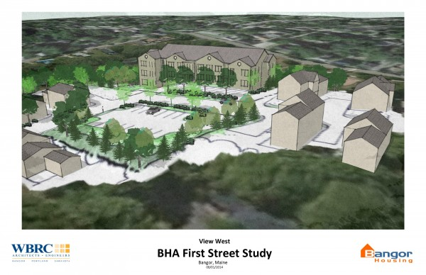A rendering of what the Bangor Housing Development Corp.'s First Street apartment building might look like. The buildings to the right and left in the picture are existing homes and apartments. A new parking lot also would be constructed on the side of the street closest to Main Street.