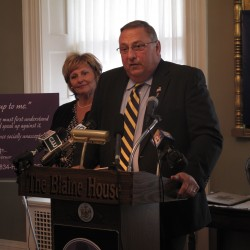 LePage stands up against domestic violence at Waterville military forum