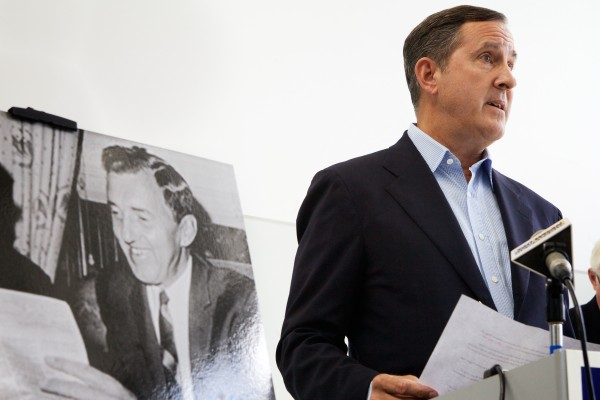 Ned Muskie, son late Maine environmental icon Ed Muskie, endorsed independent Eliot Cutler for governor in Portland on Monday while standing next to his father's photo.