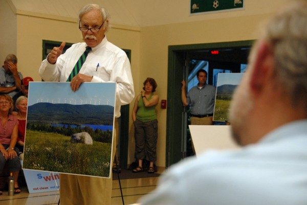 Peter Roy of Ellsworth speaks against a proposed industrial wind site for Passadumkeag Mountain during a meeting held by the Maine Department of Environmental Protection in Greenbush on Thursday, July 12, 2012.