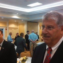 Independent gubernatorial candidate Eliot Cutler speaks with the media after a campaign stop at a Bangor Region Chamber of Commerce breakfast at Hilton Garden Inn in Bangor on Thursday, Sept. 11, 2014.