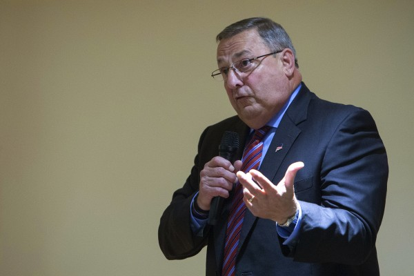 Gov. Paul LePage speaks on Wednesday at Ellen Leach Home in Brewer.