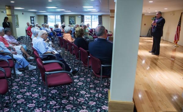Gov. Paul LePage speaks on Wednesday at Ellen Leach Home in Brewer.