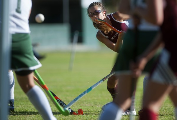 Foxcroft Academy's Fern Morrison takes a shot on Old Town's goal during their field hockey game on Wednesday at Old Town.