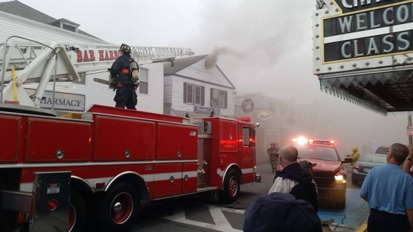 Bar Harbor firefighters fight  a fire at Portside Grill on Cottage Street in downtown Bar Harbor on Tuesday evening.